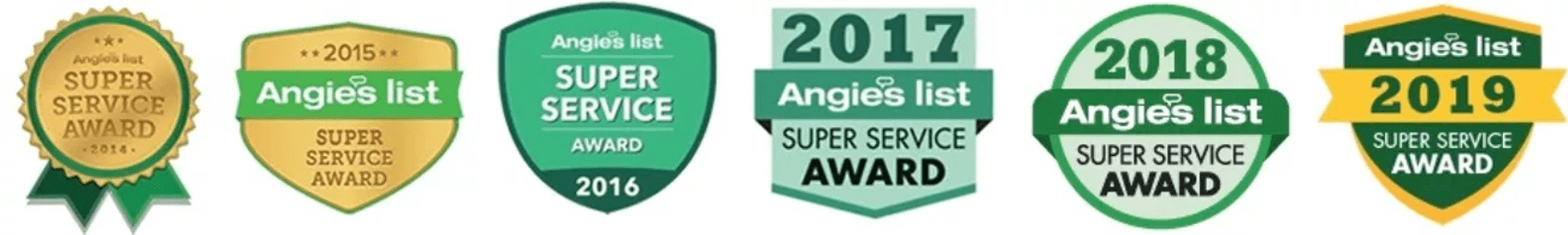 Super Service Awards for 2014, 2015, 2016, 2017, 2018 and 2019